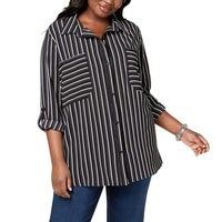 fd955785 Shop NY Collection Green Women's Size 1X Plus Utility Button Down ...