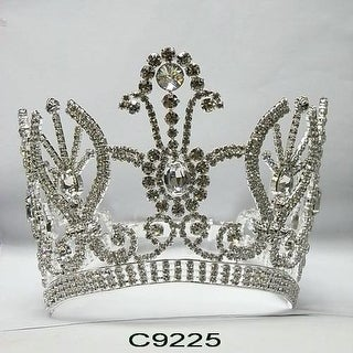 Girls Silver Majestic Pageant Quinceanera Communion Crown Headpiece