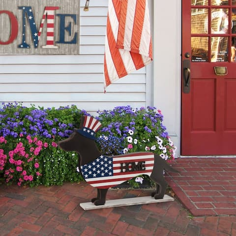 Glitzhome Wooden Metal Patriotic Christmas Double Sided Dachshund Porch Sign