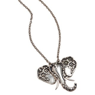 Floriana Silver Spoon Elephant Motif Pendant Necklace - Silver-Plated Brass