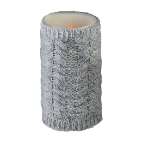 """6"""" Gray Faux Sweater Wrapped Flameless Pillar Candle - Battery Operated - N/A"""