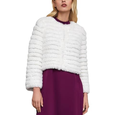 BCBGMAXAZRIA Womens Sophiana Faux Fur Coat Cropped Fashion