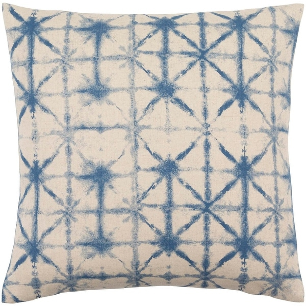 "22"" Blue And Gray Geometric Pattern Square Throw Pillow - Down Filler"