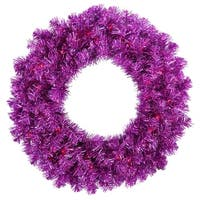 "36"" Pre-Lit Wild Purple Tinsel Artificial Christmas Wreath - Purple Lights"
