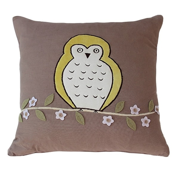 Vivai Home Taupe Floral Bird Hoot Hoot Square 16x 16 Feather Cotton Pillow - Dark tan