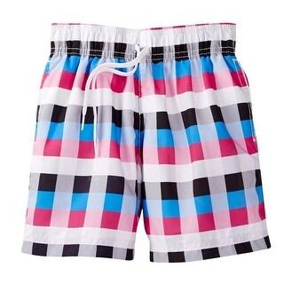 Azul Boys Black Pink Square Print Drawstring Vichi Swim Shorts