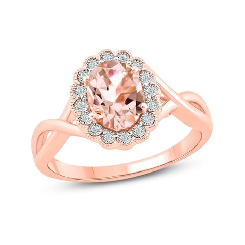 Cali Trove 925 Sterling Silver with pink plating in 1/20 ct TDW & Morganite fashion ring.