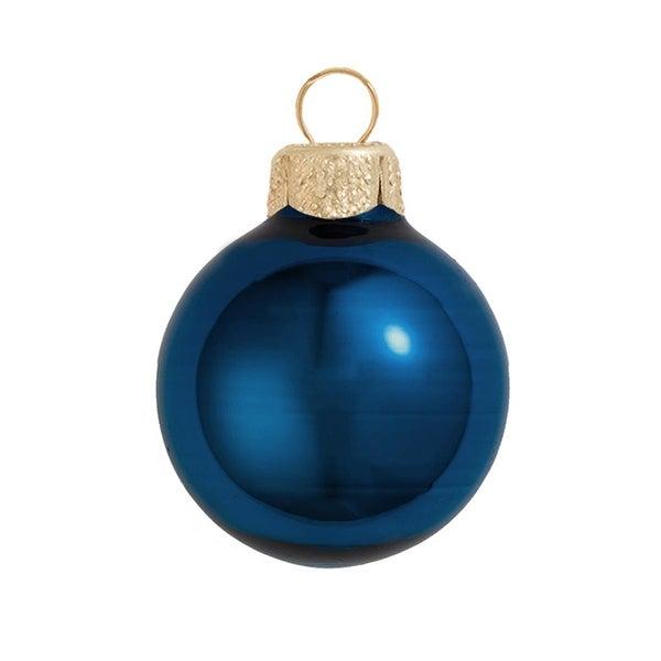 "12ct Shiny Midnight Blue Glass Ball Christmas Ornaments 2.75"" (70mm)"