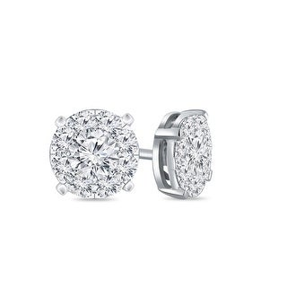 Auriya 14k Gold 1/4ctw Round Pave Diamond Stud Earrings