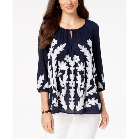 Charter Club Women's Embroidered Top Intrepid Blue Size Large
