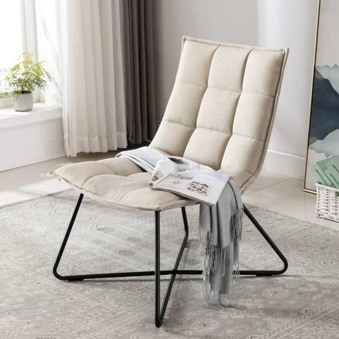 Corvus Zora Denim Upholstered Accent Chair with Cross legs
