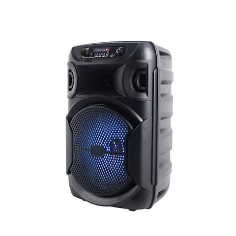 Technical Pro 1000 Watts Portable Rechargeable 8 Inch LED Bluetooth Party Speaker with USB Card Inputs, True Wireless Stereo