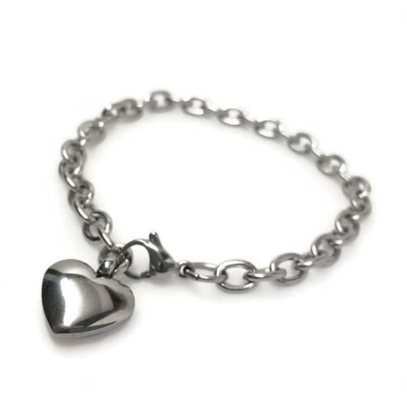 Loralyn Designs Stainless Steel Heart Charm Bracelet (6.5 - 8.5 Inch)