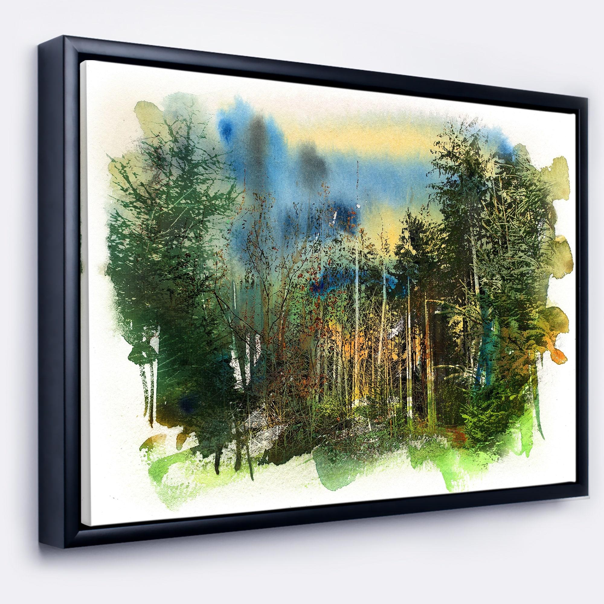 shop designart colorful forest watercolor landscape painting framed canvas print overstock 18953596 designart colorful forest watercolor landscape painting framed canvas print