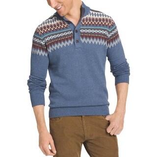 Izod Mens Pullover Sweater Fair Isle 1/4 Button