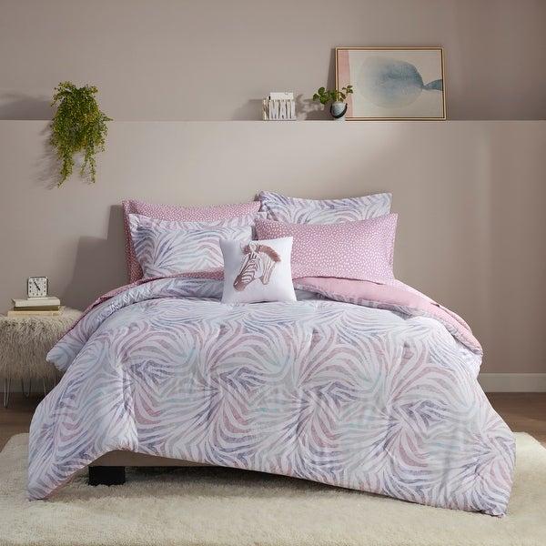 Maya Lavender Zebra Printed Comforter and Sheet Set by Intelligent Design