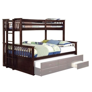 Slatted XL Twin over Queen Bunk Bed with Side Ladder, Espresso Brown