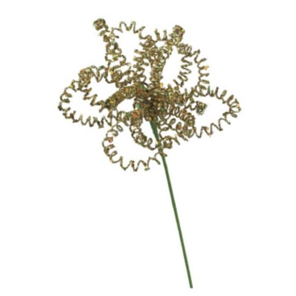 """14"""" Gold Colored Glittering Floral Designed Christmas Pick"""