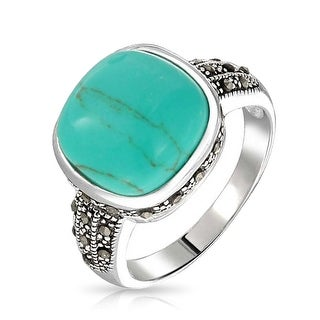 Bling Jewelry Vintage Style Marcasite Reconstituted Turquoise Ring Sterling Silver - Blue