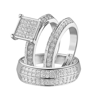 His Her Mens Womens Engagement Trio Ring Band Wedding Set 925 Silver Iced Out