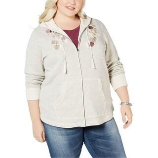 Link to Style & Co. Womens Embroidery-Detail Hoodie Sweatshirt Similar Items in Loungewear