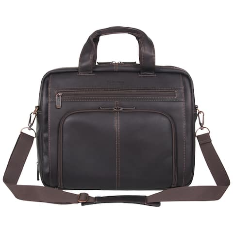 "Kenneth Cole Reaction 'Out of the Bag' Colombian Leather Top Zip 15.6"" Laptop Business Portfolio With RFID"