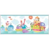 Brewster HAS01082B Noah And Friends Aqua Animal Border Wallpaper - aqua animal