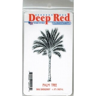 Deep Red Stamps Palm Tree Rubber Cling Stamp - 2 x 3.1