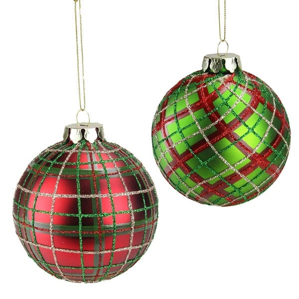 "Set of 2 Red and Green Plaid Glass Ball Christmas Ornaments 3.25"" (80mm)"