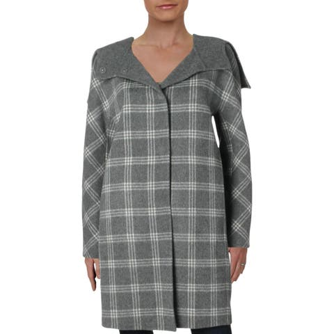 Theory Womens Coat Plaid Cashmere Blend - Charcoal Melange Multi