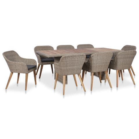 vidaXL 9 Piece Outdoor Dining Set with Cushions Poly Rattan
