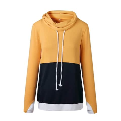 Lilly Posh Two Tone Cowl Neck Pullover With Thumbholes