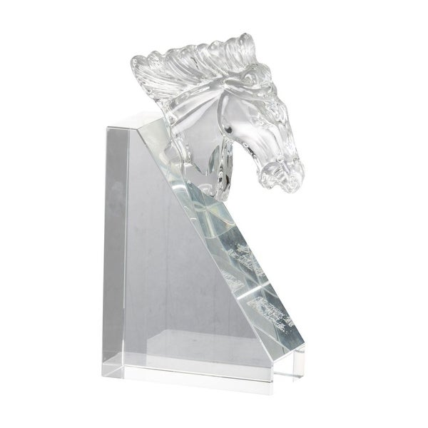 "8.5"" Clear Contemporary Style Glass Horse Head Bookend Accent - N/A"