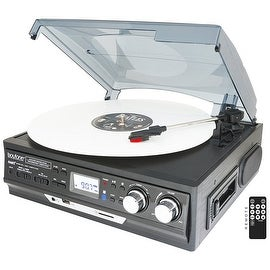 Boytone BT-17DJB-C 3-Speed Stereo Turntable with 2 Built in Speakers Digital LCD Display AM/FM Radio + Supports USB/SD/AUX+ Cass