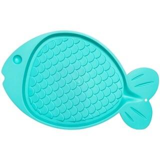 "Green - Bella Spill-Proof Fish Shaped Cat Mat 19""X12"""