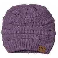 Trendy Warm CC Chunky Soft Stretch Cable Knit Soft Beanie Skully, Violet