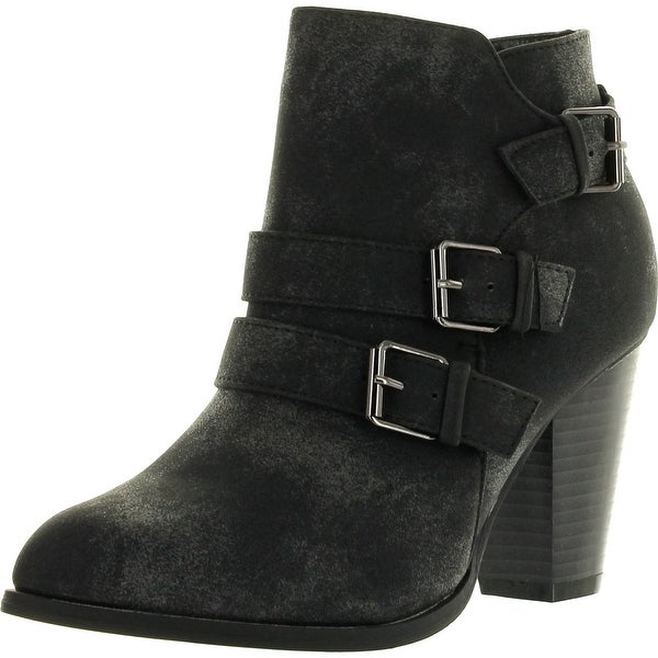 Forever Link Womens Camila-64 Fashion Chunky Heel Buckled Strap Ankle Booties
