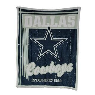 Officially Licensed Dallas Cowboys Micro Mink & Faux Sherpa Fleece Throw - navy