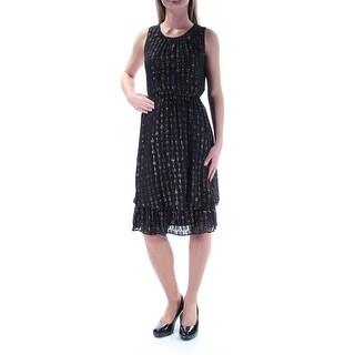 MAISON JULES $129 Womens New 1177 Black Gold Glitter Layered Dress XS B+B