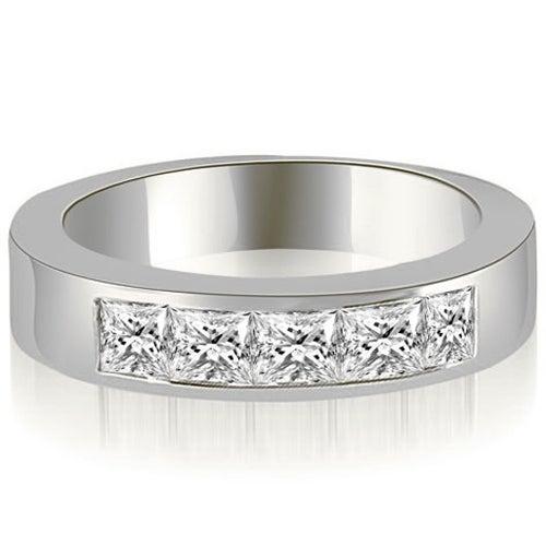 1.00 cttw. 14K White Gold Princess Diamond 5-Stone Channel Wedding Band