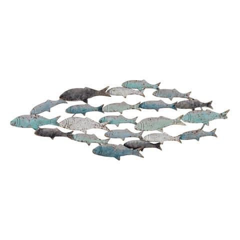 Metal School of Fish Wall Decor - Blue