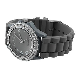 Fashion Jelly Watch with Rhinestone Bezel Silicone Band