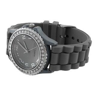 Fashion Jelly Watch with Rhinestone Bezel Silicone Band
