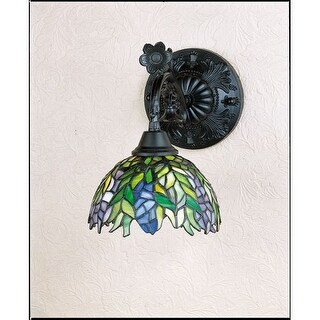 """Meyda Tiffany 27387 Honey Locust 8"""" Wide Single Light Wall Sconce with Stained Glass Shade"""