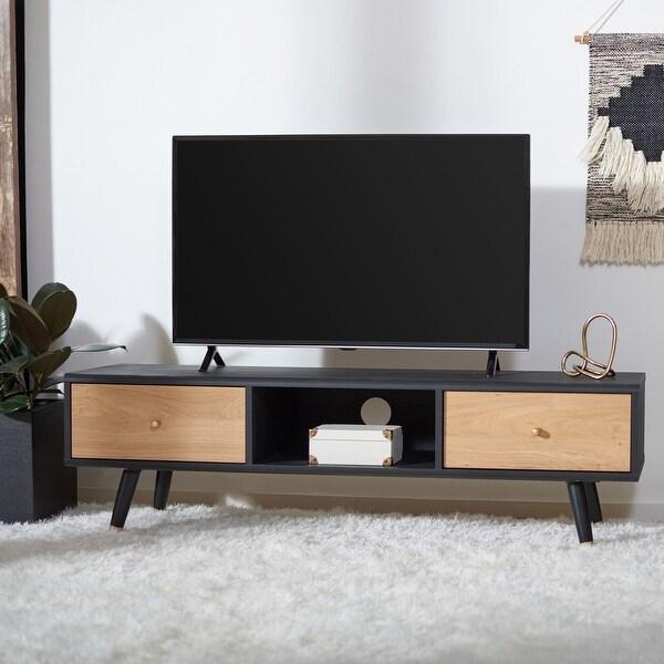 "Safavieh Beatrix Black/ Oak 55-inch Storage TV Media Stand - 55.1"" W x 15.4"" L x 16.4"" H. Opens flyout."