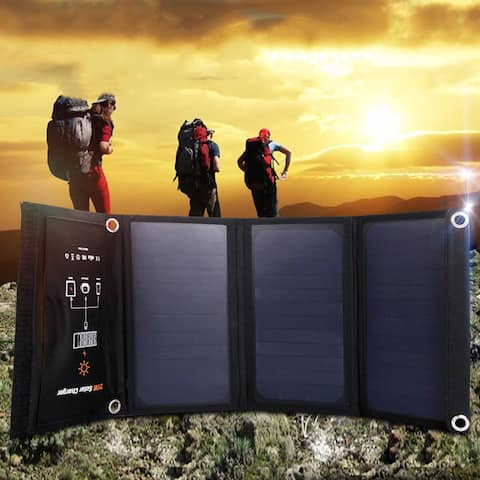 Costway 21W Foldable Waterproof Dual USB Solar Panel Charger For Smartphone Travel Hook - as pic