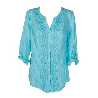 Jm Collection Plus Size Aqua Cotton Embroidered Shirt 0X