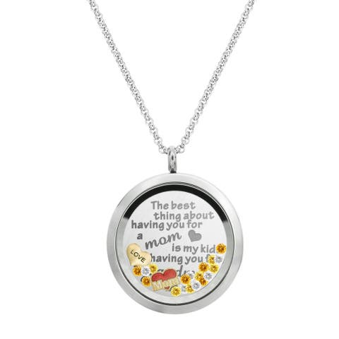 Queenberry Best Mom Floating Locket Crystals Charm Necklace Pendant