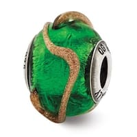 Italian Sterling Silver Reflections Green with Brown Textured Lines Glass Bead (4mm Diameter Hole)