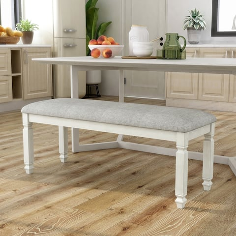 Furniture of America Timm Transitional White Fabric Dining Bench